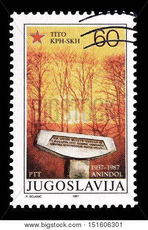 YUGOSLAVIA - CIRCA 1987 : Cancelled postage stamp printed by Yugoslavia, that shows Monument.