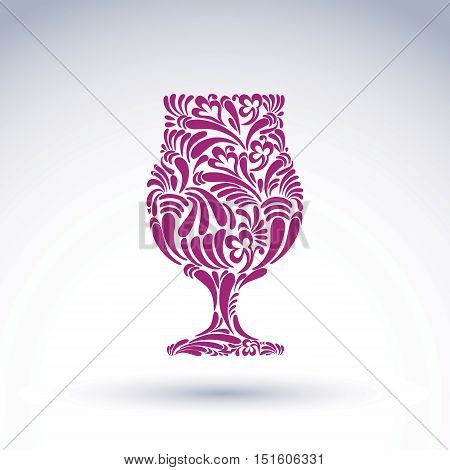 Natural decoration graphic snifter with bright flower-patterned filling and curls.