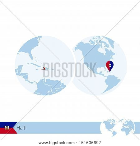 Haiti On World Globe With Flag And Regional Map Of Haiti.