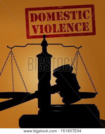 Court gavel and scales of justice silhouette with Domestic Violence text