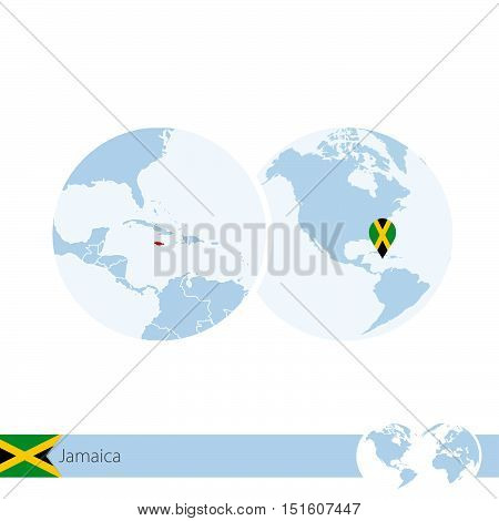 Jamaica On World Globe With Flag And Regional Map Of Jamaica.