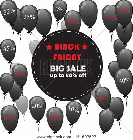 Very high quality original vector black friday sale on background with realistic balloons