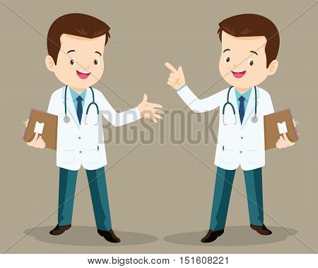 Smart Doctor Presenting In Various Action