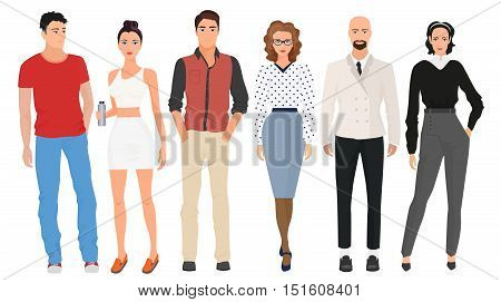 Handsome young guys men with beautiful cute girls models couples in casual street modern fashion clothes isolated. Fashionable people set