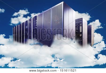 abstract Computer  in a cloudy sky as a symbol for cloud-computing
