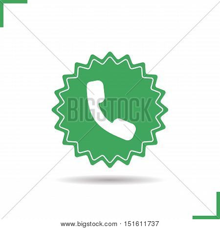 Call us now sticker. Drop shadow call center silhouette icon. Handset badge. Phone receiver. Negative space. Vector isolated illustration
