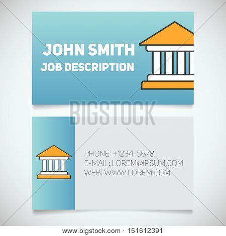 Business card print template with courthouse logo. Easy edit. Bank building. Lawyer. Judge. Banker. Stationery design concept. Vector illustration