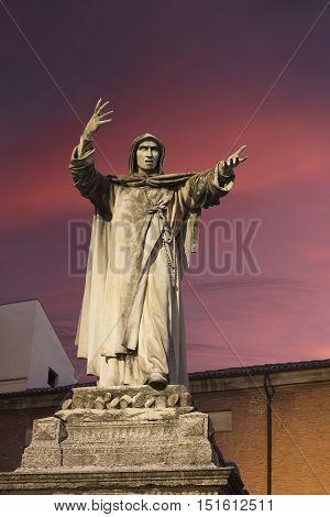 Girolamo Savonarola statue in Ferrara Emilia-Romagna in Italy. Was an Italian Dominican friar and preacher active in Renaissance Florence