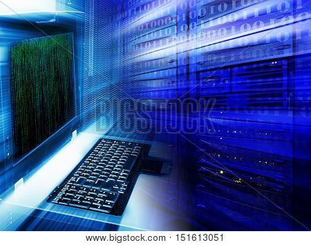 Abstract Mainframe stack in the server room blue blur