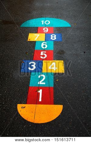 Painted boxes children's play hopscotch. at the playground.