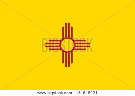 New Mexican official flag symbol. American patriotic element. USA banner. United States of America background. Flag of the US state of New Mexico correct size proportion color vector illustration