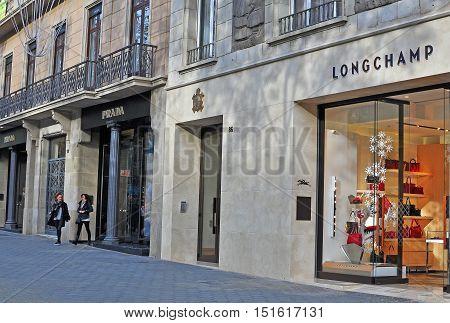 BARCELONA SPAIN - DECEMBER 8: Longchamp flagship store in the street of Barcelona on December 8 2014.