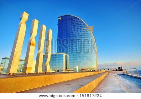 BARCELONA SPAIN - JANUARY 11: W hotel in Barceloneta district Barcelona city on January 11 2015. Barcelona is the secord largest city of Spain.