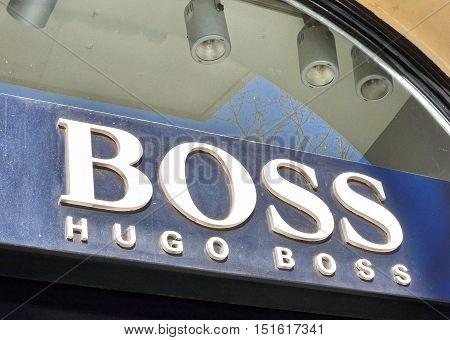 BARCELONA - FEBRUARY 1: Logotype of Hugo Boss fashion house in Barcelona on February 1 2015. Hugo Boss is the world famous brand founded in Germany.