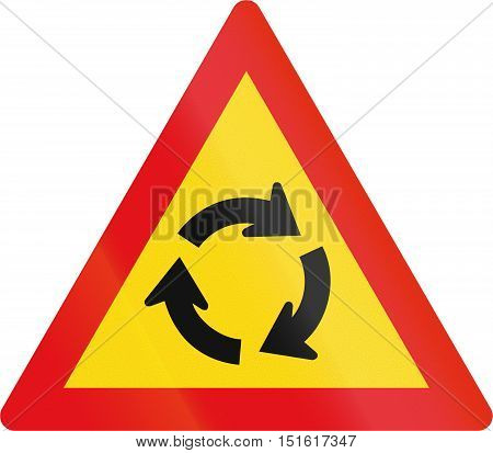 Temporary Road Sign Used In The African Country Of Botswana - Roundabout Ahead