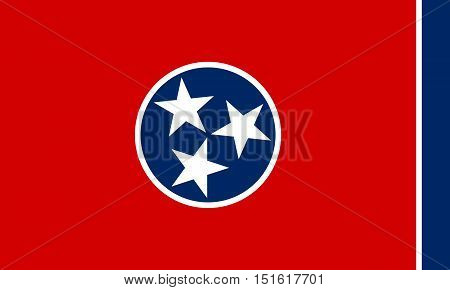 Tennessean official flag symbol. American patriotic element. USA banner. United States of America background. Flag of the US state of Tennessee correct size proportions colors vector illustration