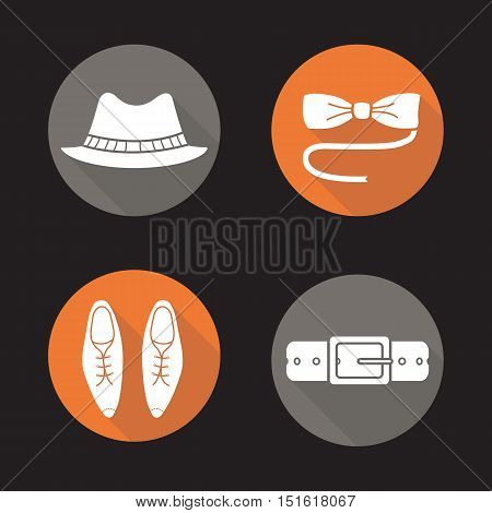 Men's accessories flat design long shadow icons set. Homburg hat, butterfly bow tie, classic leather shoes and belt. Vector symbols