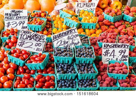 Tomatoes Blueberries and Rasberries in a Market