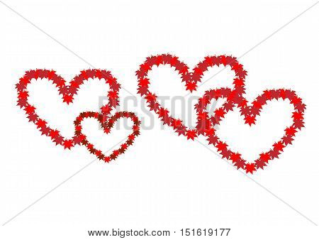 Two intertwined hearts. Symbol of love. Heart from autumn leaves