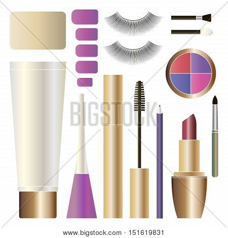 Decorative cosmetics products. Beauty cosmetics. Isolated makeup product. Beauty makeup package. Makeup cosmetic set.