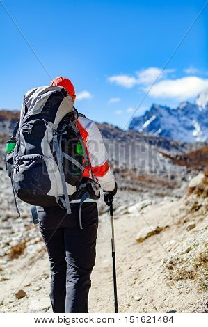 Woman hiker trekking with big backpack in Himalaya Mountains. Person on hiking trail backpacking in high mountains and inspirational landscape. Looking at beautiful mountain view. poster