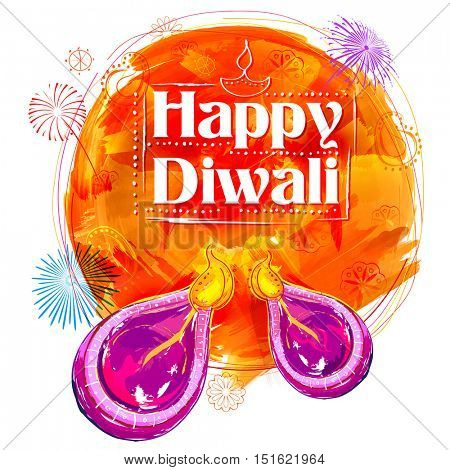 illustration of burning watercolor diya on Happy Diwali Holiday background for light festival of India