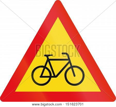 Temporary road sign used in the African country of Botswana - Cyclists. poster