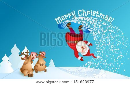 Santa snowboarding. Merry Christmas card with snow landscape. Vector illustration for your design. Old man cartoon and reindeer characters. Christmas and New Year theme