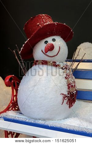 Two Ball Snowman With Red Hat and Scarf