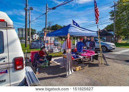 Ronks PA USA - October 11 2016: Trump merchandise offered for sale along busy Route 30 in Lancaster County.