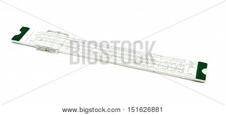 A slide rule for math isolated on white background.