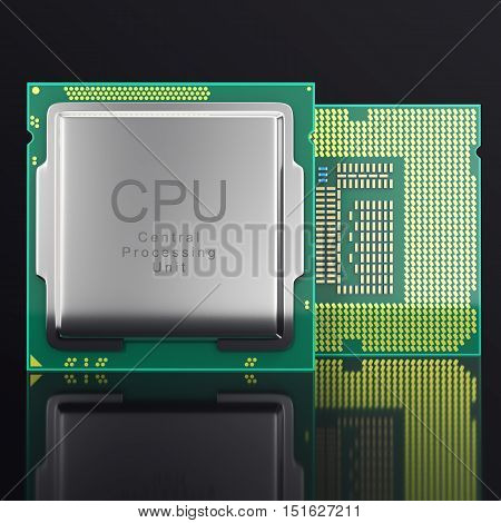 3d illustration modern multicore CPU on black background.