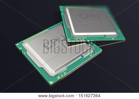 3d illustration CPU chip, central processor unit on black background