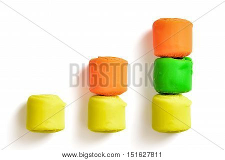 Bar chart made of colourful pieces of modelling clay isolated on white background. Bright colours. Cheerful mood. Rising up.