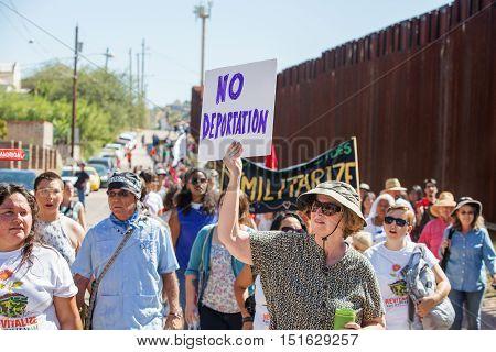 Group Protesting Deportation Of Veterans At Usa And Mexico Border