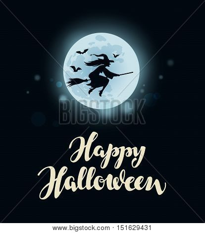 Happy Halloween. moon, witch flying on broomstick