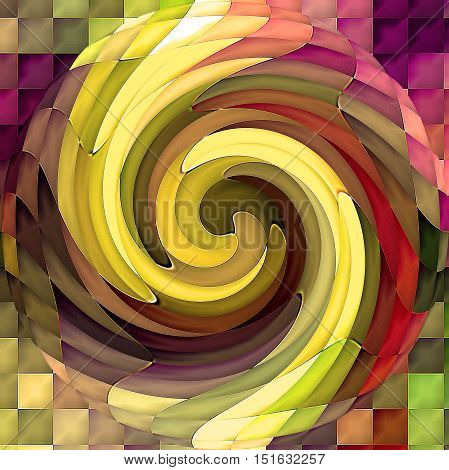 Abstract coloring background of the horizon gradient with visual mosaic, cubism, spherize and twirl effects