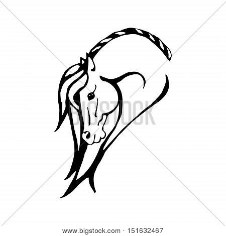 Image from black lines to a proud horse. Head horse on white background vector illustration. A symbolic image of the horse