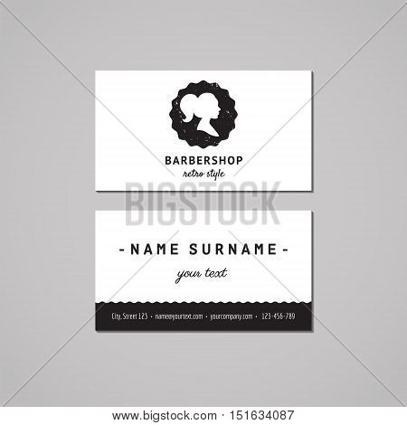 Barbershop (hair salon) business card design concept. Logo with long ponytail hairstyle woman profile. Vintage hipster and retro style. Black and white.