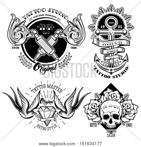 Tattoo studio monochrome emblems set with professional equipment flowers and leaves anchor skull swallows isolated vector illustration