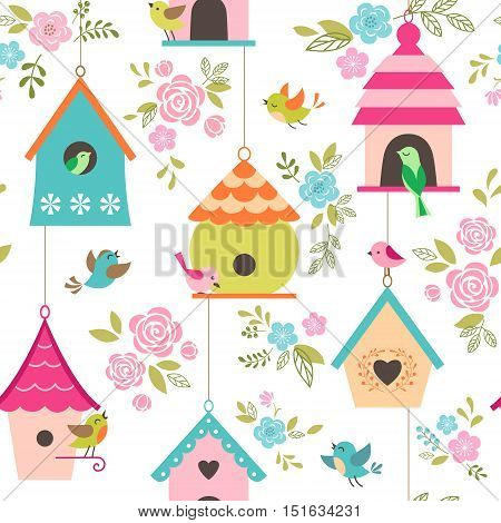 Floral seamless pattern with birds and bird houses.