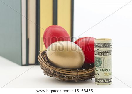 American dollar next to red and gold nest eggs reflect high costs of education. Careful policy and strategy needed to create adequate funds. poster