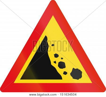 Temporary Road Sign Used In The African Country Of Botswana - Falling Rocks