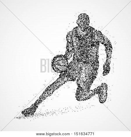 Abstract basketball player of the black circles. illustration.