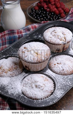 Muffins sugar powder in the pan on the table with carafe of milk and berries