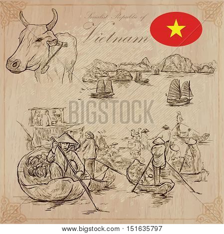 Travel series VIETNAM. Socialist Republic of Vietnam. Pictures of Life. Vector collection of an hand drawn illustrations set. Pack of hand drawn illustrations sketches.