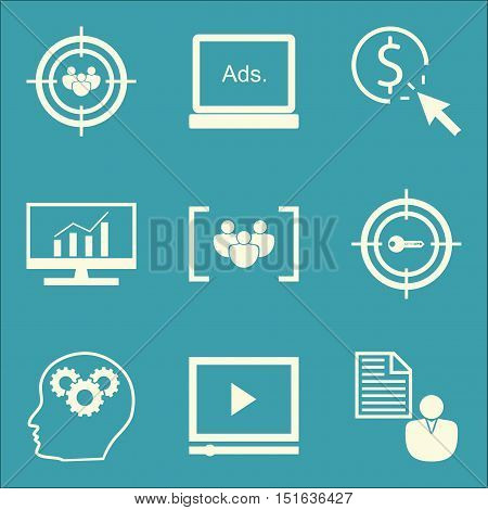 Set Of Seo, Marketing And Advertising Icons On Pay Per Click, Video Advertising, Display Advertising
