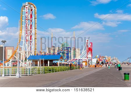 NEW YORK,USA - AUGUST 18,2016 : Seaside boardwalk and amusement parks in Coney Island