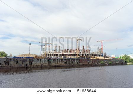 Nizhny Novgorod, Russia. - June 2.2016. View from the Volga River on a lot of construction of football stadium for the World Cup in Russia in 2018