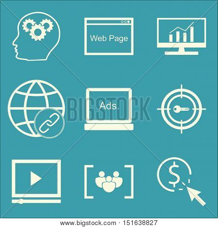 Set Of Seo, Marketing And Advertising Icons On Display Advertising, Link Building, Video Advertising